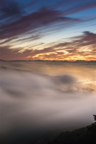 iPhone Wallpaper Sunset, red sky, mountains, fog, lights, dusk