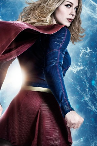 iPhone Wallpaper Supergirl, back view