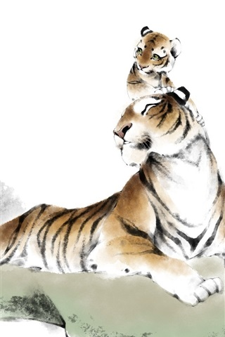 iPhone Wallpaper Tigers, Chinese watercolor painting