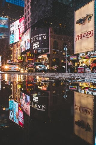 Times Square Manhattan New York Street Puddle Cars City Night Usa 640x1136 Iphone 5 5s 5c Se Wallpaper Background Picture Image