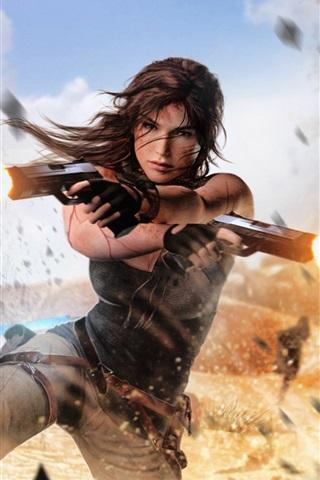 iPhone Wallpaper Tomb Raider, Lara Croft, guns, explosions