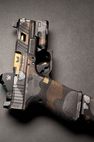 iPhone Wallpaper Two guns, weapon, gray background