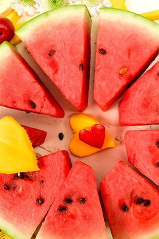 iPhone Wallpaper Watermelon slice, banana, mango, fruit