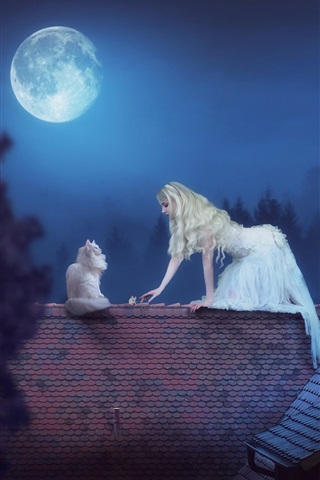 iPhone Wallpaper White skirt girl and cat, roof, moon, night, creative picture