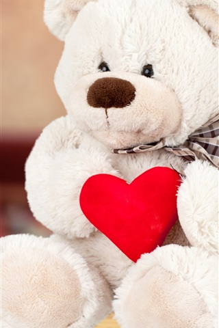 iPhone Wallpaper White teddy bear, red love heart