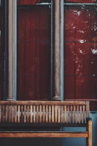 iPhone Wallpaper Window, wood bench