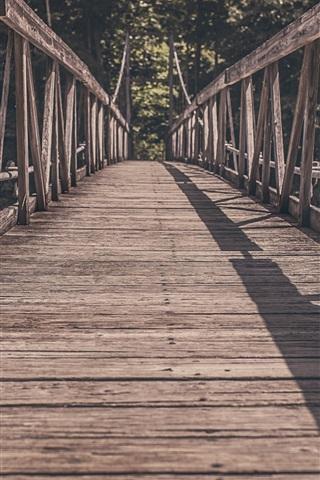 iPhone Wallpaper Wooden bridge, path