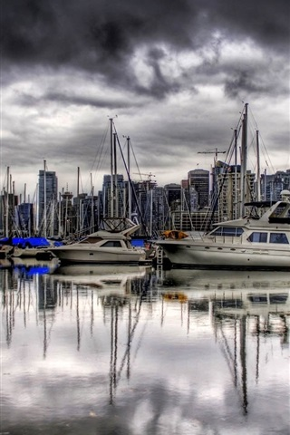 iPhone Wallpaper Yachts, pier, river, clouds, dusk