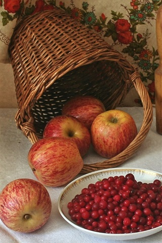 iPhone Wallpaper Apples, cranberry, bread, basket