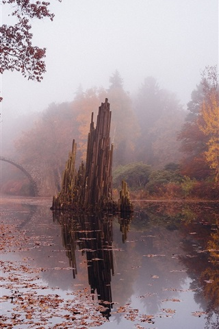 iPhone Wallpaper Autumn, stone bridge, river, trees, fog, Germany