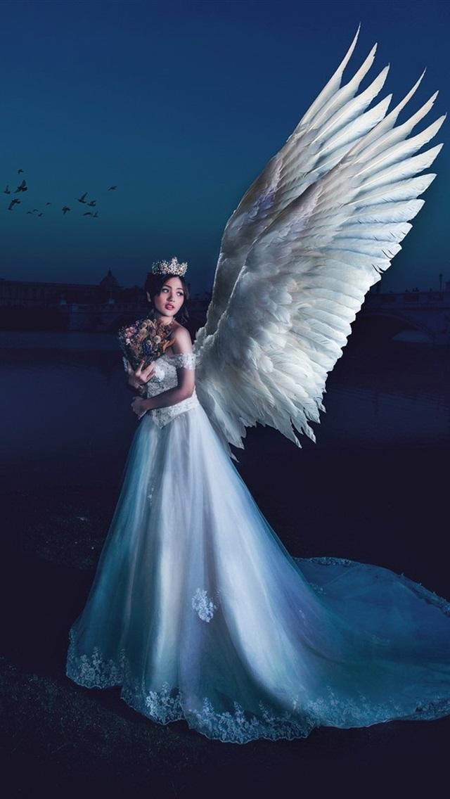 Wallpaper Beautiful Angel Girl Wings Night Moon 1920x1200 Hd
