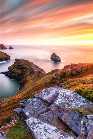iPhone Wallpaper Beautiful sunset sea, slope, grass, stones