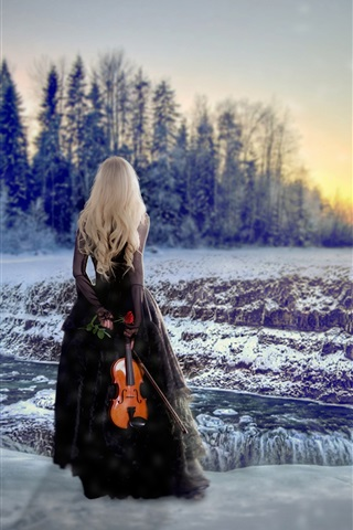 iPhone Wallpaper Blonde girl back view, winter, snow, violin