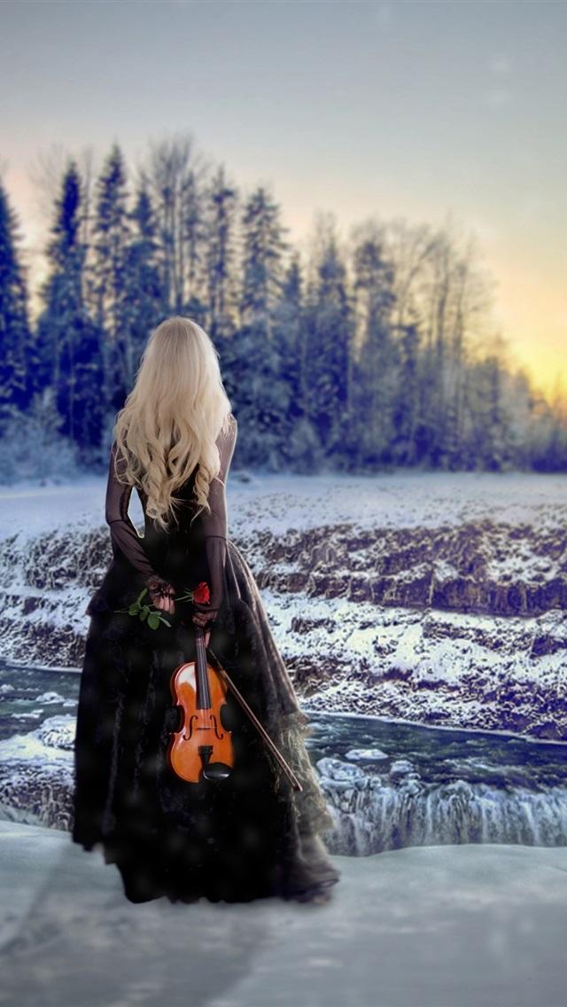 wallpaper blonde girl back view winter snow violin