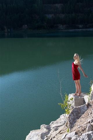 iPhone Wallpaper Blonde girl, red skirt, lake, slope