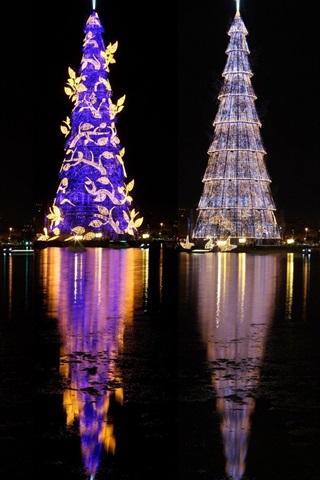 iPhone Обои Бразилия, красивые елки, огни, река, ночь