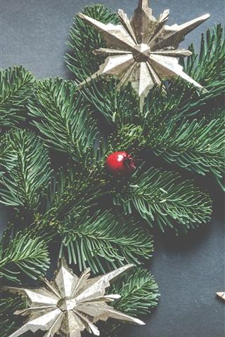 iPhone Papéis de Parede Árvore de natal, estrelas, bolas, decorações