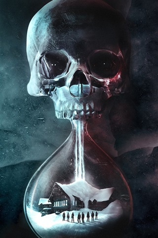 iPhone Wallpaper Death, skull, hourglass, house, creative picture