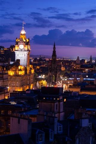iPhone Wallpaper Edinburgh, Scotland, city, night, lights