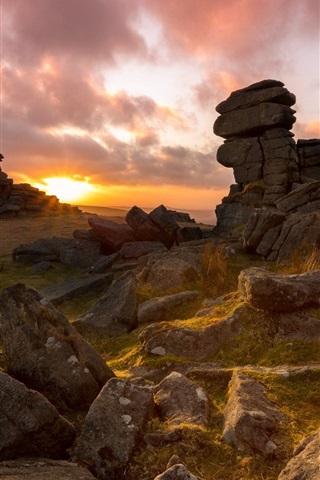 iPhone Wallpaper England, stones, sunset
