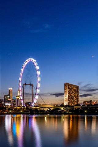 iPhone Wallpaper Ferris wheel, Singapore, city night, sea, buildings, lights