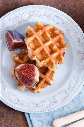 iPhone Wallpaper Figs, waffles, knife