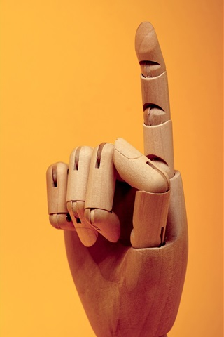 iPhone Wallpaper Finger gesture, wooden artworks