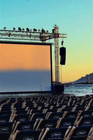 France Cannes Film Festival Sea Screen Chairs 640x960 Iphone 4 4s Wallpaper Background Picture Image
