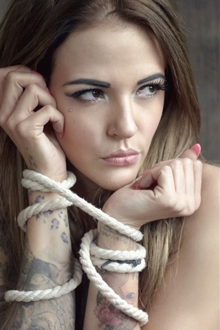 iPhone Wallpaper Girl, tattoo, rope