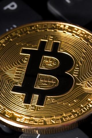 iPhone Wallpaper Golden Bitcoin, keyboard