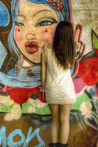 iPhone Wallpaper Graffiti wall, girl back view, guitar