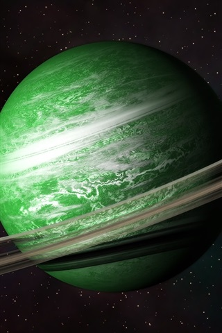 iPhone Wallpaper Green planet, belt, universe