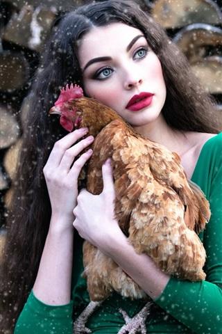 iPhone Wallpaper Green skirt girl hug a chicken, makeup, snowy