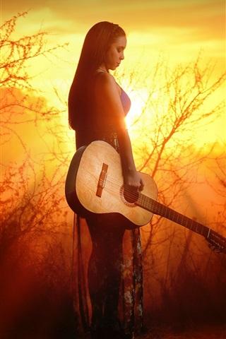iPhone Wallpaper Guitar girl at sunset, trees, sun rays