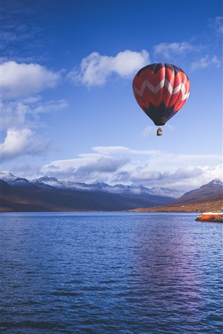iPhone Wallpaper Hot air balloon, sky, mountains, fjord, sea, Iceland