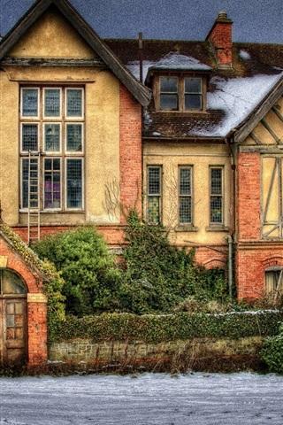 iPhone Hintergrundbilder Haus, Villa, Schnee, Dämmerung, HDR-Stil