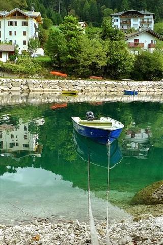 iPhone Wallpaper Italy, Molveno, river, boat, stones, houses