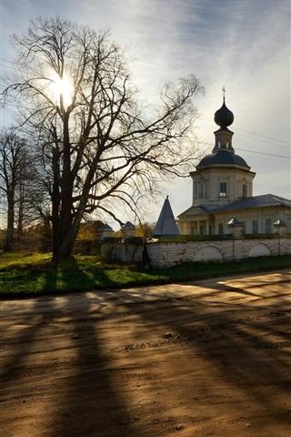 iPhone Hintergrundbilder Kostroma, Russland, Tempel, Bäume, Sonnenuntergang