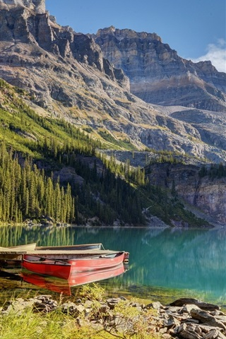iPhone Wallpaper Lake, boat, pier, mountain, trees