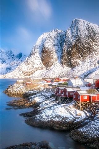 iPhone Wallpaper Lofoten beautiful landscape, houses, fjord, mountains, snow, winter, Norway