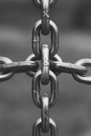 iPhone Wallpaper Metal chain, black and white picture