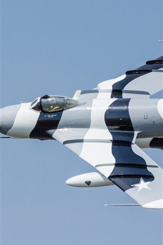 iPhone Wallpaper MiG-17F fighter, jet