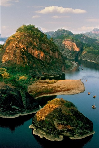 iPhone Wallpaper Mountains, river, islands, boats, beautiful landscape