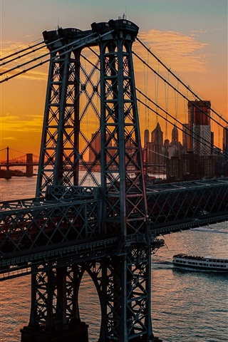 iPhone Wallpaper New York, bridge, dawn, USA