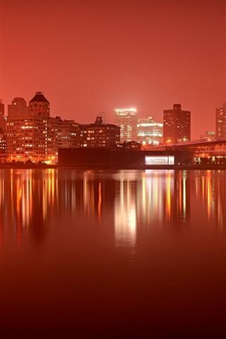 iPhone Wallpaper New York, night, city, river, bridges, buildings, lights, Brooklyn, USA