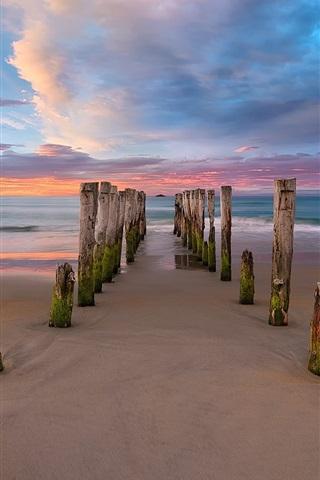 iPhone Wallpaper New Zealand, beach, sea, clouds, pier