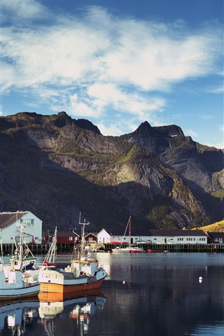 iPhone Wallpaper Norway, Lofoten, bay, pier, boats, mountains