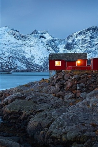 iPhone Wallpaper Norway, village, houses, fjord, mountains, winter, snow, lights