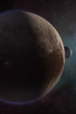 iPhone Wallpaper Pluto, planet, sun, space