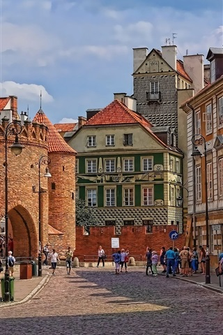 iPhone Wallpaper Poland, Warsaw, Barbican, street, city, old town, people, street